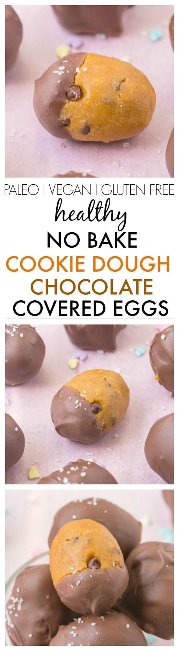 Healthy No Bake Cookie Dough Chocolate Covered Eggs- Accidentally healthy and SO easy- A fudgy cookie dough centre and a chocolate coating- NO butter, sugar or grains! {vegan, gluten free, paleo recipe}- thebigmansworld.com