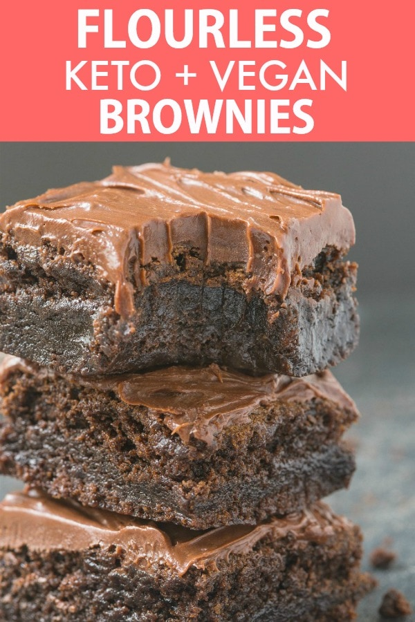 Easy Flourless Fudge Brownies topped with frosting