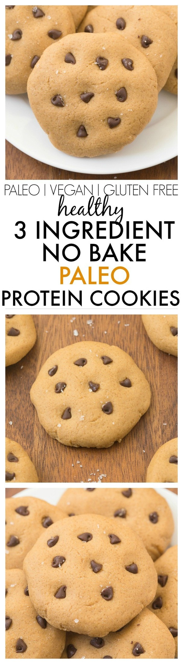 Healthy 3 Ingredient No Bake Protein Cookies- Ready in 5 minutes, soft and fudgy, these taste like dessert- NO butter, oil, grains, flour or sugar! {vegan, gluten free, paleo recipe}- thebigmansworld.com