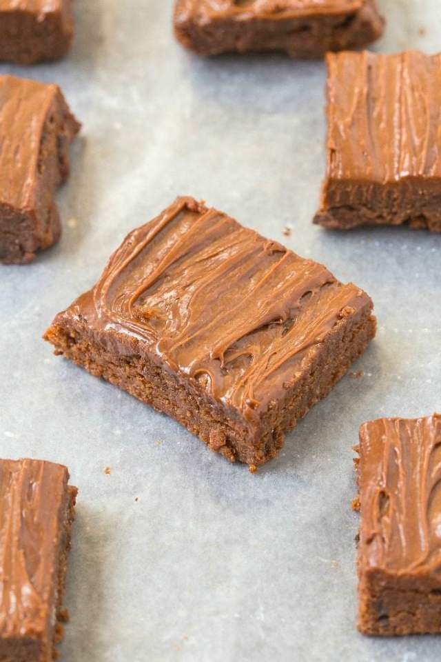 Healthy Grain Free Double Chocolate Blondies- Soft, gooey yet tender on the outside, these blondies have NO butter, grains, white sugar or oil yet you'd never tell- Easy and delicious! {vegan, gluten free, paleo recipe}- thebigmansworld.com