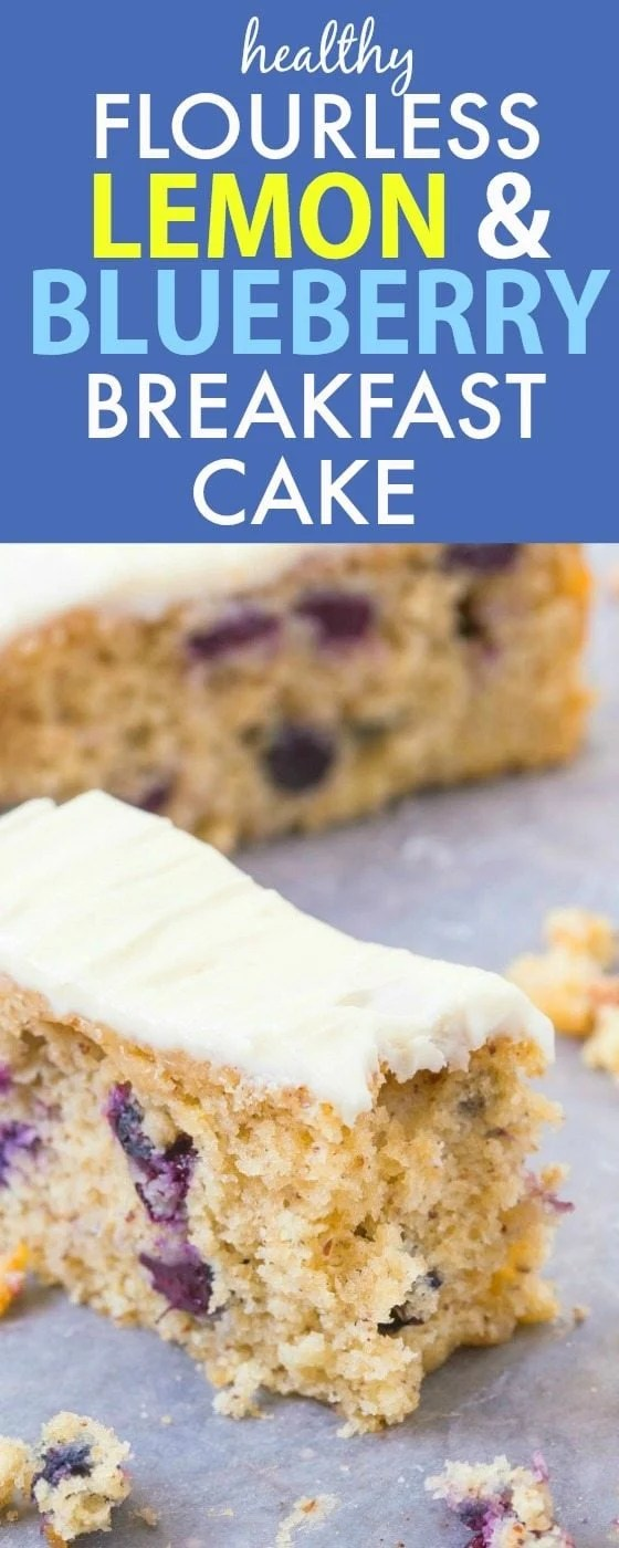 Healthy Flourless Lemon and Blueberry Breakfast Cake- Light and fluffy on the inside, tender on the outside with a hint of citrus; have a guilt free dessert for breakfast- NO butter, oil, flour or sugar! {vegan, gluten free, paleo recipe}- thebigmansworld.com