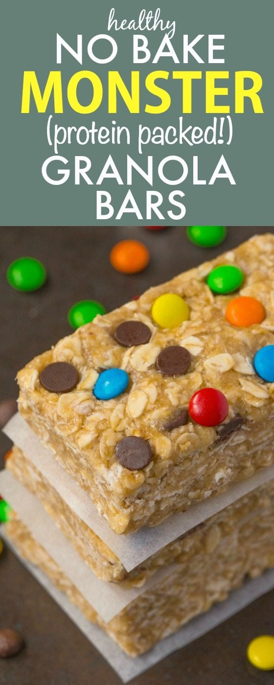 Healthy NO BAKE Monster Cookie Protein Bars- Quick and easy snack bars which are extra chewy and SO satisfying- NO butter, oil or flour in the entire recipe! {vegan, gluten free, dairy free recipe}- thebigmansworld.com