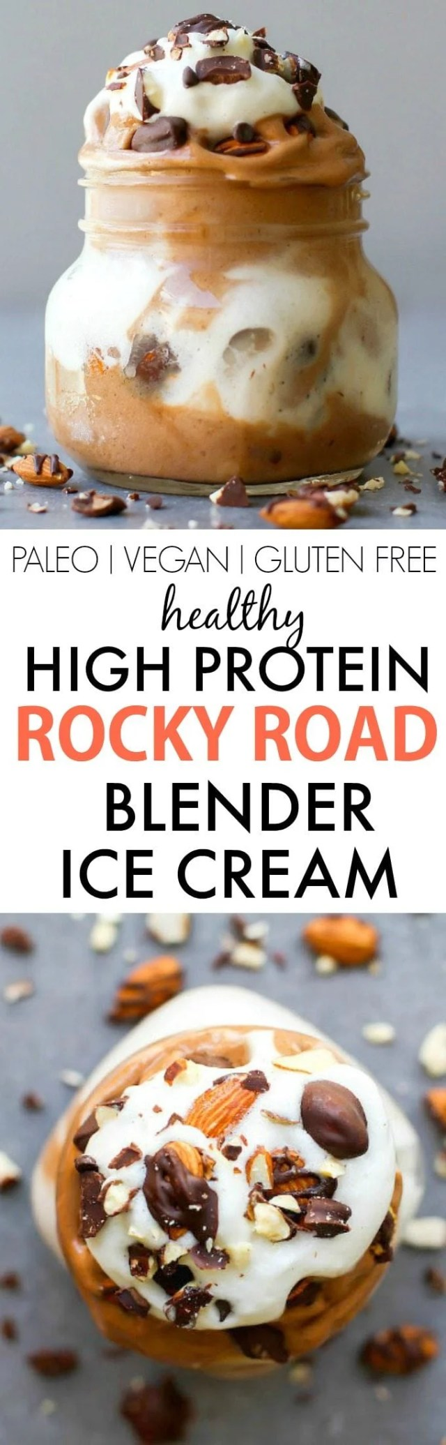Healthy Rocky Road BLENDER Ice Cream- Smooth, thick and creamy and LOADED with protein, this simple, easy blender made ice cream (nice cream) has NO dairy, cream, sugar or nasties- An Aquafaba option too! {vegan, gluten free, paleo recipe}- thebigmansworld.com