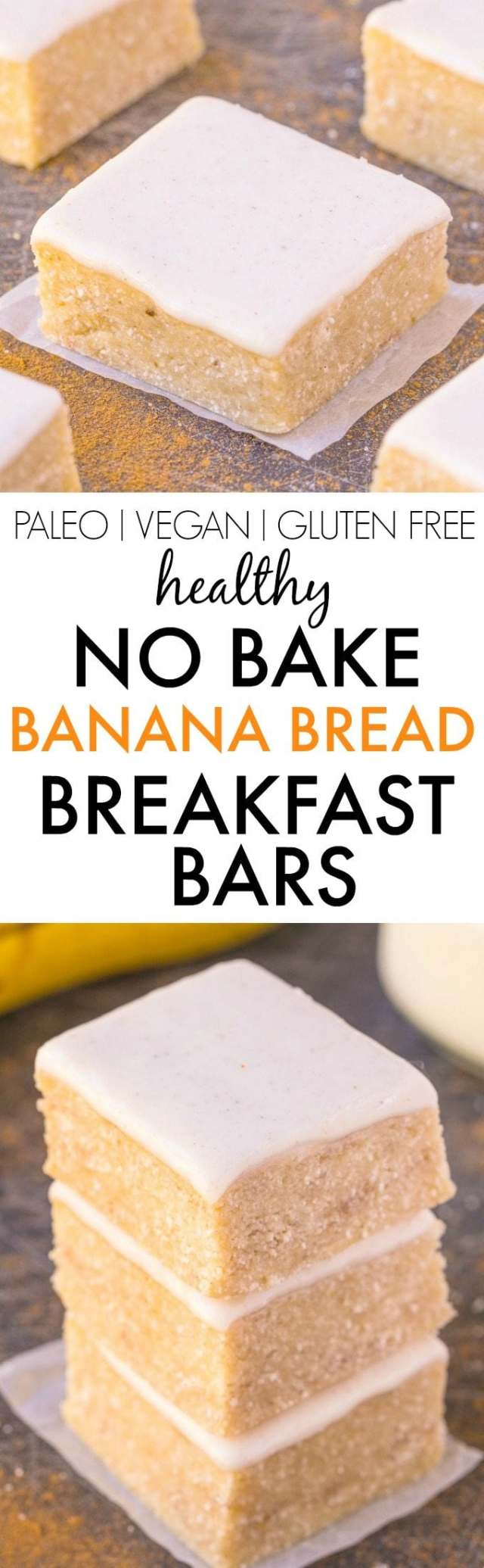 Healthy NO BAKE Banana Bread Breakfast Bars- Thick, chewy and JUST like a blondie, but with NO butter, oil, grains or white sugar- It's PACKED with protein too! {vegan, gluten free, paleo recipe}- thebigmansworld.com