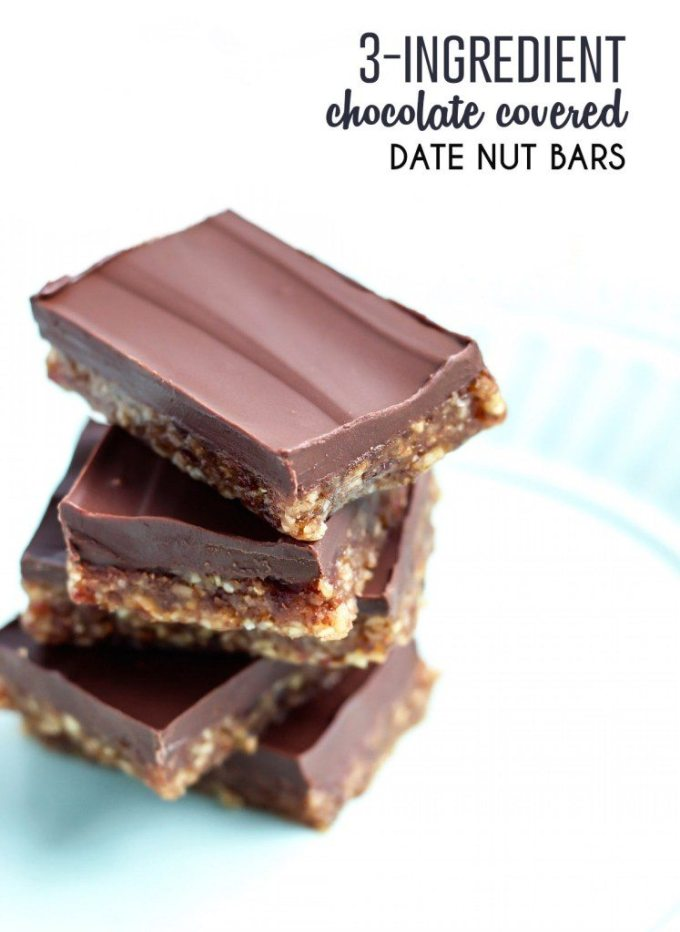 3 Ingredient Chocolate Covered Date Nut Bars