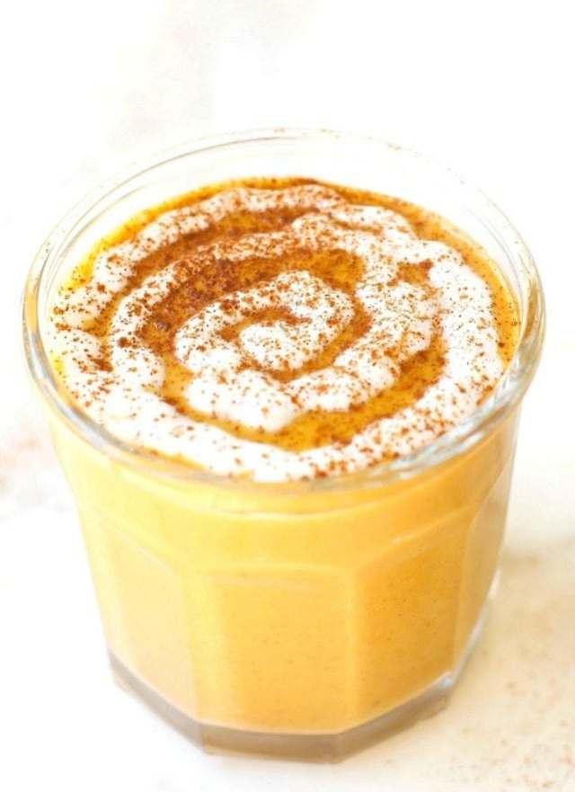 Healthy WARM Sticky Cinnamon Roll Smoothie- For Breakfast or a snack, this THICK and CREAMY recipe is PACKED with protein and tastes just like a cinnamon roll- Quick, easy and can be enjoyed hot or cold! {vegan, gluten free, sugar free, paleo recipe}- thebigmansworld.com