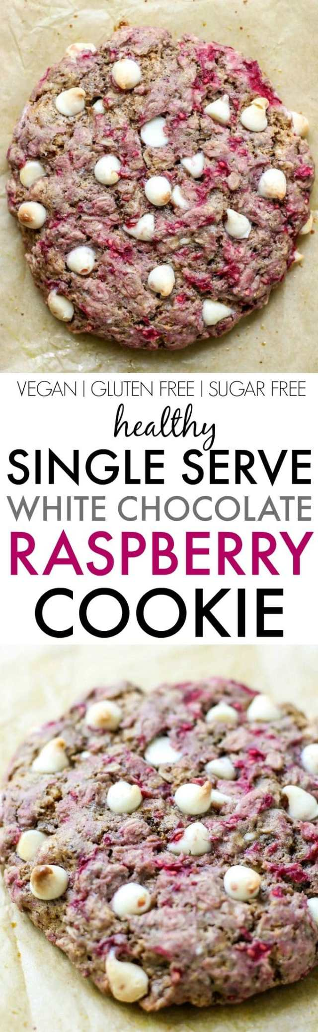 Healthy SINGLE SERVE GIANT White Chocolate Raspberry Cookie- Thick, chewy and slightly soft, it's perfectly portioned and secretly healthy! It's made with wholesome ingredients and a tested sugar free option too! {vegan, gluten free, sugar free recipe}- thebigmansworld.com