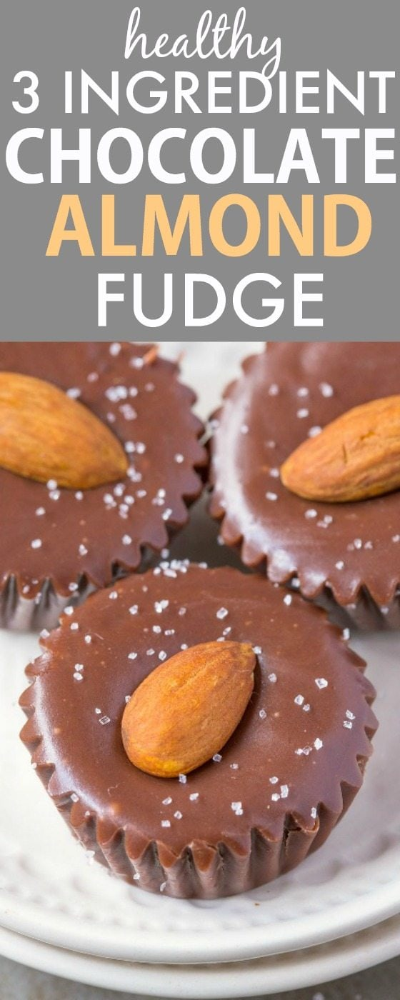 Healthy THREE Ingredient Chocolate Almond Fudge- Smooth, creamy and melt in your mouth fudge bites which takes minutes to whip up- So quick and easy! Naturally sweetened and with NO butter, NO dairy, NO refined sugar and NO flour! {vegan, gluten free, clean eating, paleo recipe}- #healthyrecipe #vegan #glutenfree #sugarfree | recipe at thebigmansworld.com