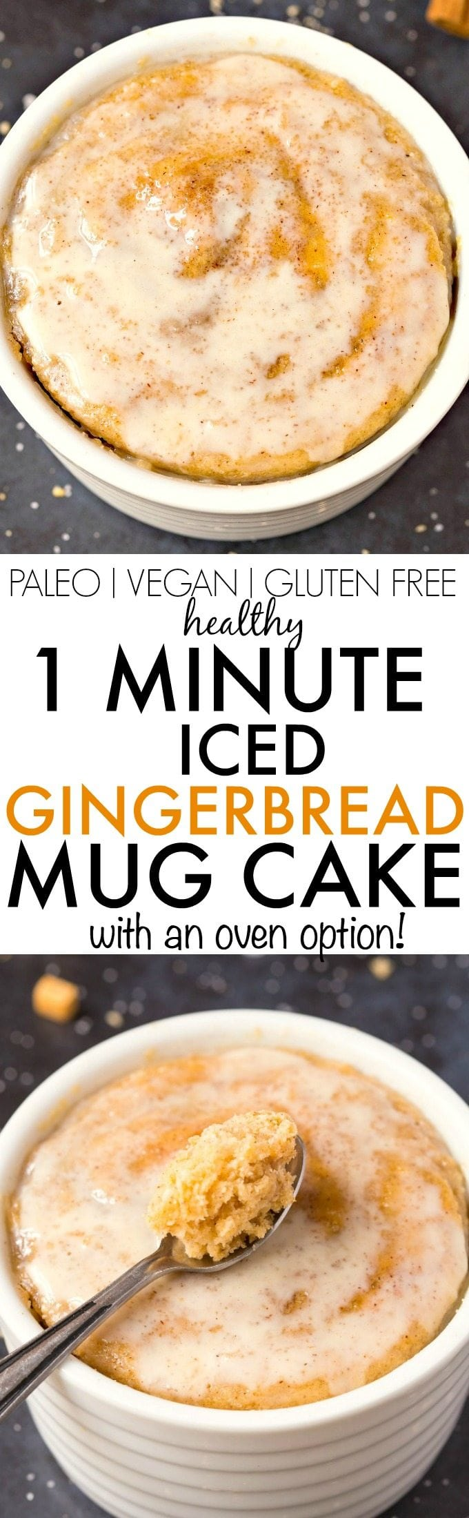 Healthy ONE MINUTE Iced Gingerbread Mug Cake- Quick, Easy, Delicious and with an oven option too, it's light, fluffy and tender- Made with NO butter, it's oil free, sugar free and low calorie! {vegan, gluten free, paleo recipe}- thebigmansworld.com