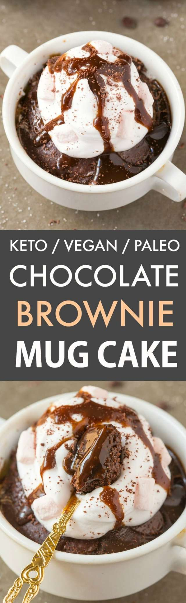 Keto Hot Chocolate Brownie Mug Cake (Paleo, Vegan)