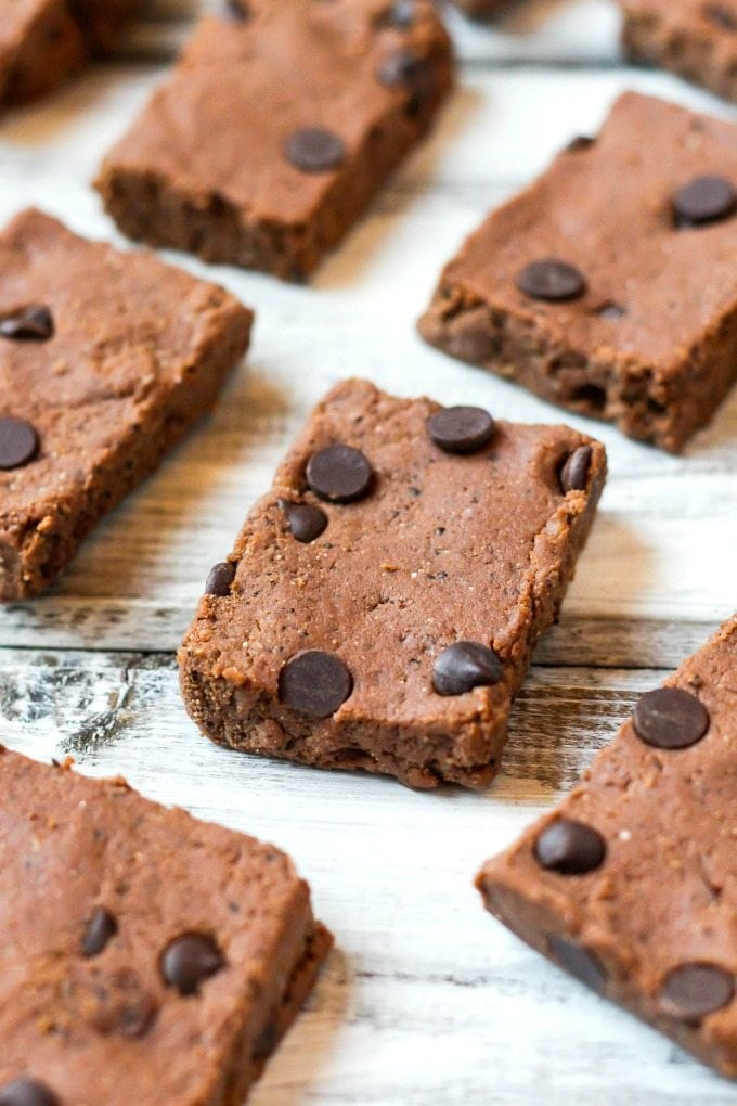 Healthy No Bake Mocha BREAKFAST Bars- Loaded with chocolate, coffee and super fudgy, these wholesome breakfast bars have NO butter, NO oil, NO grains and NO sugar! {vegan, gluten free, paleo recipe}- thebigmansworld.com