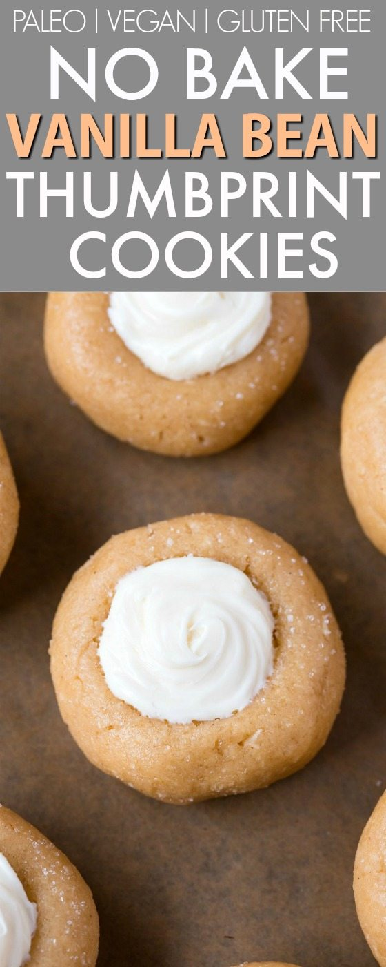 No Bake Vanilla Bean Thumbprint Cookies (V, GF, Paleo)- Secretly healthy no bake cookies LOADED with holiday flavor but made in one bowl and guilt-free! Refined sugar free and packed with protein! Perfect for Christmas, holidays, parties and events! {vegan, gluten free, paleo recipe}- thebigmansworld.com