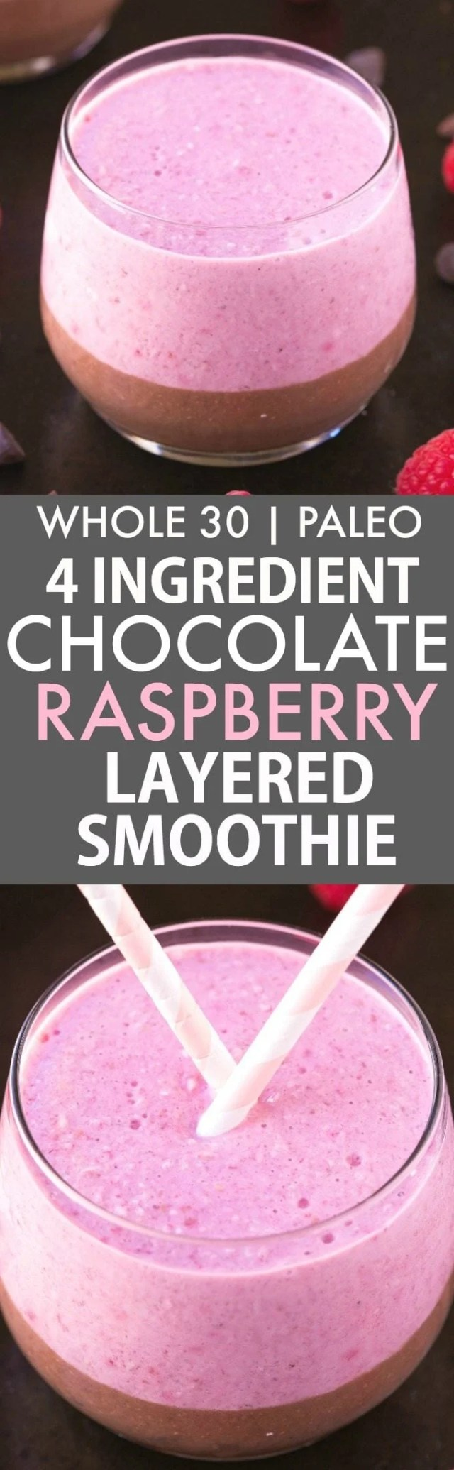 4 Ingredient Chocolate Raspberry Layered Breakfast Smoothie (Whole30, Paleo, V, GF)- Thick, creamy, protein and fiber packed breakfast smoothie LOADED with nutrients to keep you satisfied for hours! Filling, easy and sugar free! {whole 30, paleo, vegan, gluten free recipe}- thebigmansworld.com