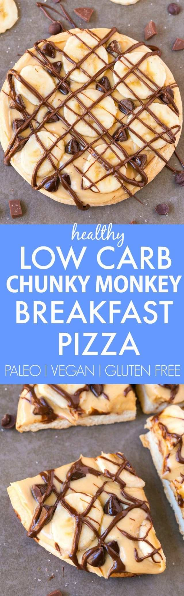 Healthy LOW CARB Chunky Monkey Breakfast Pizza (V, GF, Paleo)- A guilt-free breakfast which tastes like dessert- Smooth nut butter, fresh banana slices and a drizzle of clean eating chocolate- Quick, easy and filling! {vegan, gluten free, paleo recipe}- thebigmansworld.com