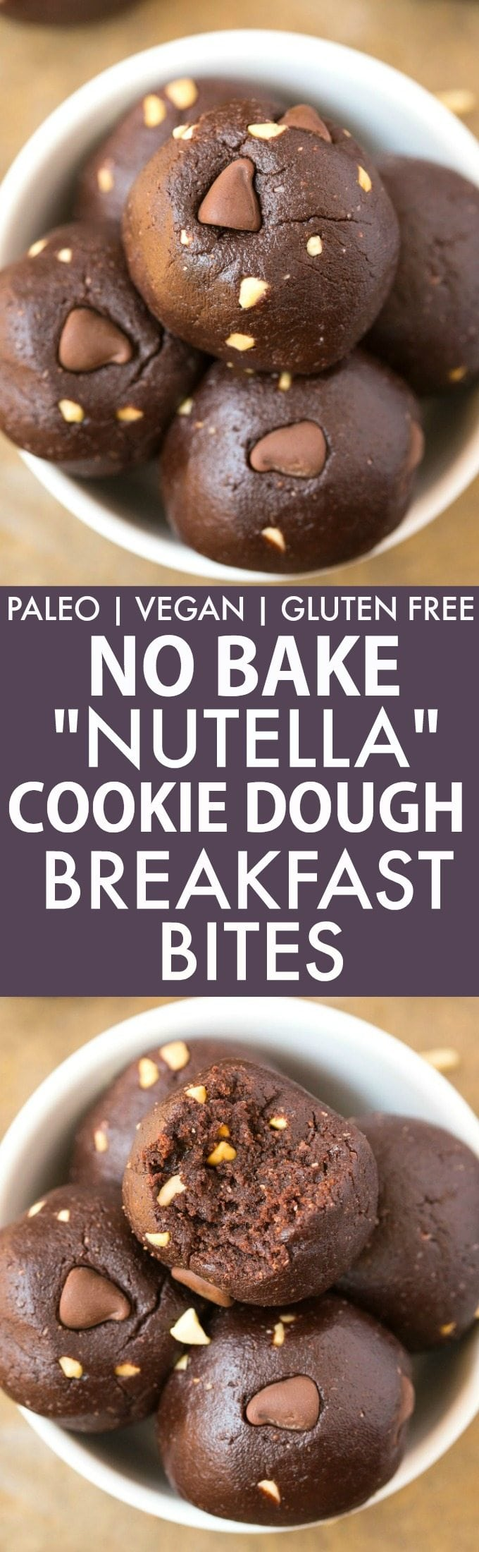 """Healthy No Bake """"Nutella"""" Cookie Dough BREAKFAST Bites (GF, V, Paleo)- Quick, easy and delicious no bake bites which take minutes to whip up and like having a guilt-free, protein packed dessert for breakfast! Dairy free and refined sugar free! {vegan, gluten free, paleo recipe}- thebigmansworld.com"""