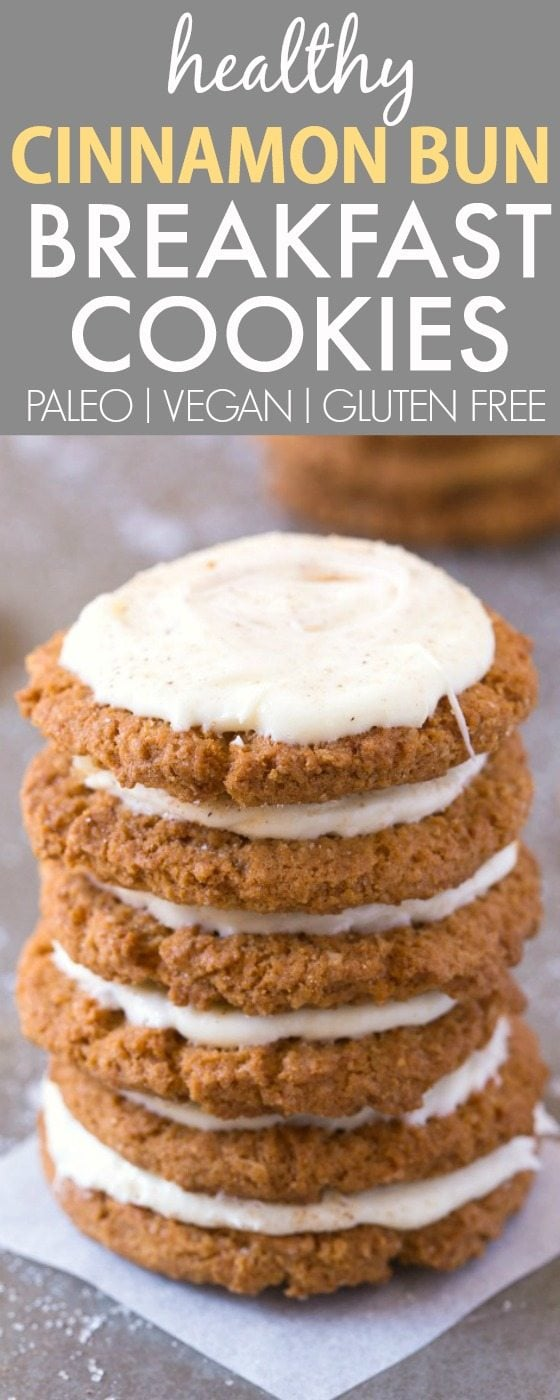 Healthy Cinnamon Bun Breakfast Cookies (V, GF, P, DF)- Chewy and filling cinnamon spiced cookies with a thick, creamy and guilt-free frosting packed with protein and ZERO sugar! {vegan, gluten free, paleo recipe}- thebigmansworld.com
