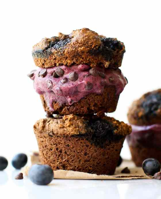 Chocolate Blueberry Muffin Ice Cream Sandwiches