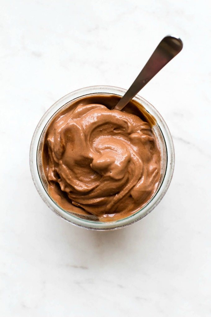 3 Ingredient No-Churn Blender Chocolate Ice Cream (V, GF, P, DF)- Healthy, easy, blender made chocolate ice-cream or soft serve (banana nice cream) which is smooth, creamy, dairy free and sugar free! {vegan, gluten free, paleo recipe}- thebigmansworld.com