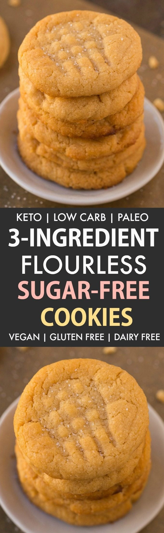 3-Ingredient Low Carb Sugar Free Cookies (Keto, Flourless, Paleo, Vegan)- The classic peanut butter cookie gets a healthy and sugar-free makeover- Chewy, soft and crispy in one! #cookies #ketodessert #ketobaking #sugarfreerecipes #lowcarbrecipes #ketorecipes   Recipe on thebigmansworld.com