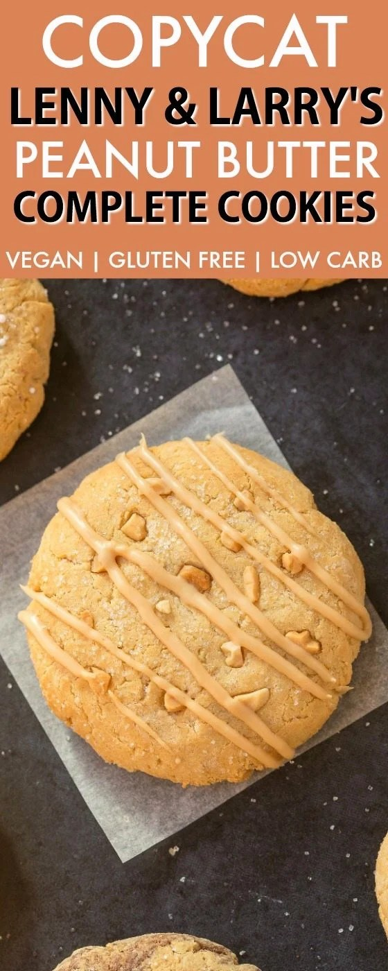 Copycat Lenny & Larry's Peanut Butter Complete Cookie (V, GF, DF, Paleo)- An easy, healthy, single serve protein cookie recipe, dense, chewy and soft in the center! 5 Ingredients and no sugar! {vegan, gluten free, low carb}- thebigmansworld.com