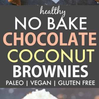 Healthy No Bake Chocolate Coconut Brownies (V, GF, Paleo, DF)- A quick and easy no bake bar recipe with a thick, chewy brownie base and 3-ingredient coconut layer! {vegan, gluten free, refined sugar free, low carb}- thebigmansworld.com