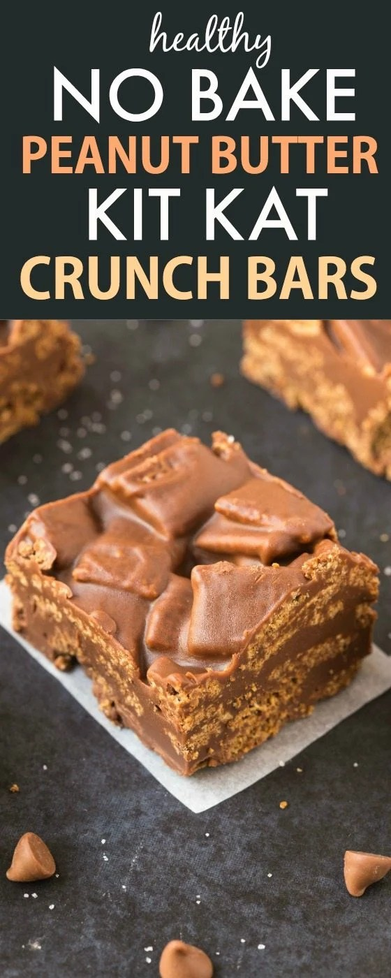 Healthy No Bake Peanut Butter Kit Kat Crunch Bars (Vegan, Gluten Free)- #candybar #lowcarb #healthyrecipe #vegan #glutenfree #sugarfree | recipe at thebigmansworld.com