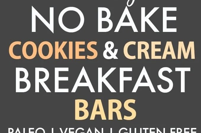 Healthy No Bake Cookies and Cream Breakfast Bars (V, GF, P, SF)- Enjoy dessert for breakfast with this guilt-free, grab-and-go, portable, easy no bake bars which are just like a cookies and cream cheesecake- {vegan, gluten free, paleo recipe}- thebigmansworld.com