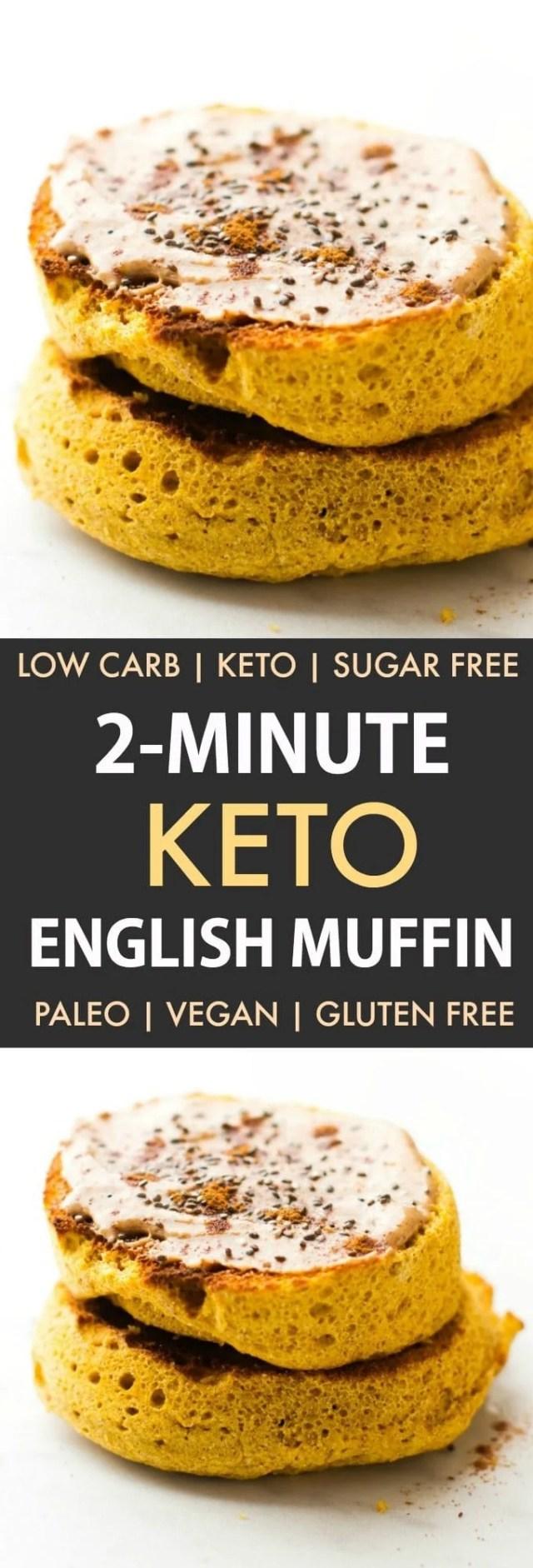 2-Minute Keto English Muffin (Paleo, Low Carb, Vegan, Gluten Free)- An easy recipe for a 2-minute flourless English muffin recipe- Super low carb and no grains or eggs needed- Oven option included! #keto #mugmuffin #ketobread #paleobread | Recipe on thebigmansworld.com