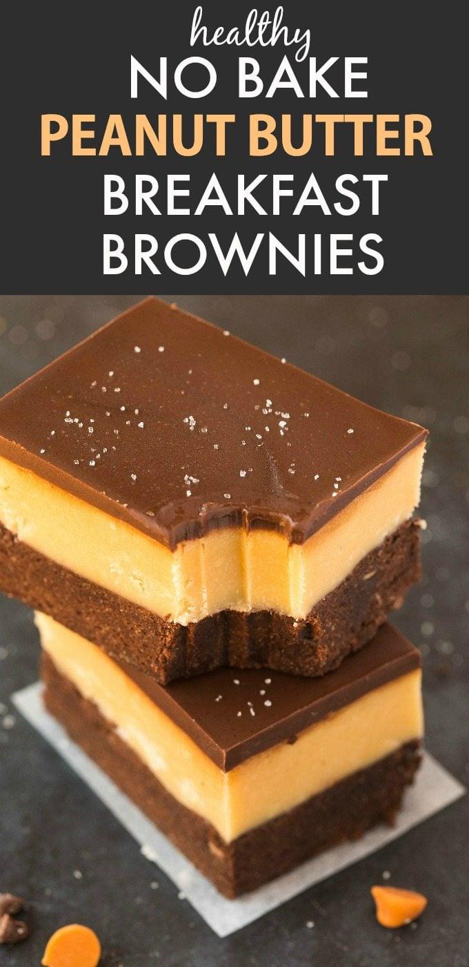 Healthy No Bake Peanut Butter Breakfast Brownies (Vegan