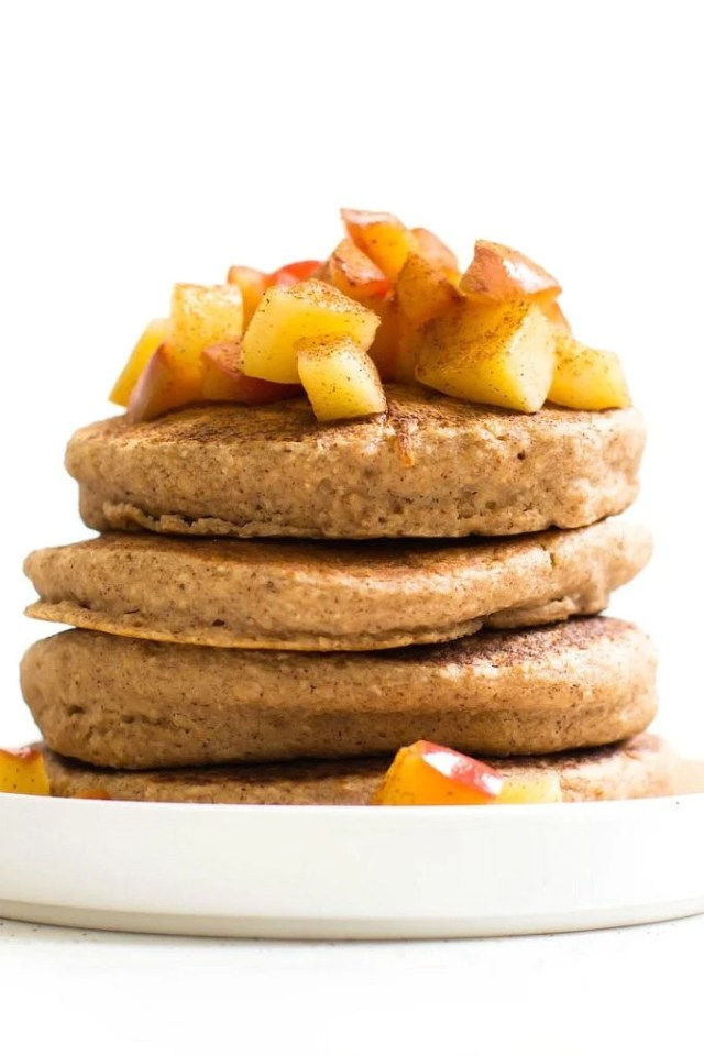 Fluffy Flourless Apple Pie Pancakes (Vegan, Gluten Free, Sugar Free, Keto)