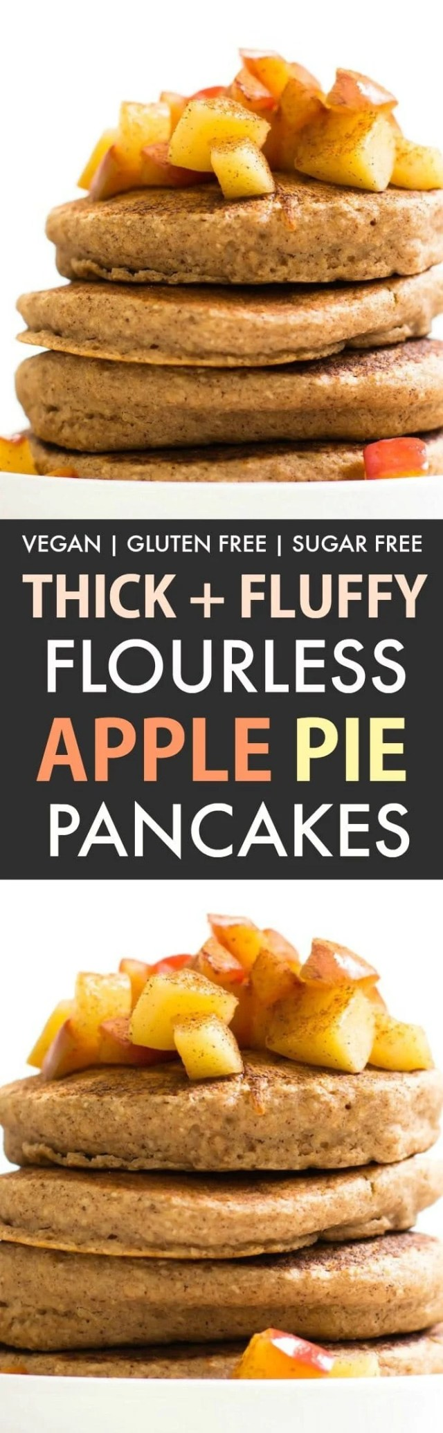 Fluffy Flourless Apple Pie Pancakes (Vegan, Gluten Free, Sugar Free)- An easy, healthy pancake recipe loaded with apple pie flavor and super thick and fluffy. A guilt-free breakfast to keep you satisfied! {v, gf, sf recipe}- thebigmansworld.com #applepie #pancakes