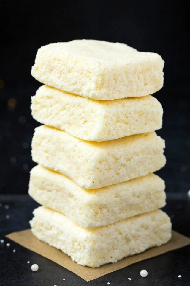3-Ingredient No Bake Coconut Crack Bars stacked on top of one another