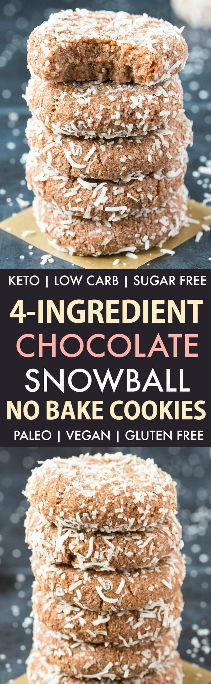 4 Ingredient No Bake Chocolate Snowball Cookies (Keto, Paleo, Vegan, Sugar Free)- An easy, 5-minute recipe for soft chocolate coconut snowballs, but made in a cookie shape! No condensed milk, sugar, or dairy needed and super low carb. #lowcarbrecipe #nobakecookies #ketodessert #lowcarb #sugarfree | Recipe on thebigmansworld.com