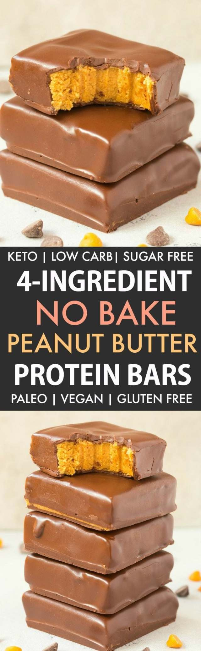 4-Ingredient No Bake Peanut Butter Protein Bars (Paleo, Vegan, Keto, Sugar Free, Gluten Free)- Easy, healthy and low carb bars using just 4 ingredients and needing 5 minutes- They taste like Reese's peanut butter cups and better than store bought! #keto #peanutbutter #chocolate #healthy #nobake | Recipe on thebigmansworld.com