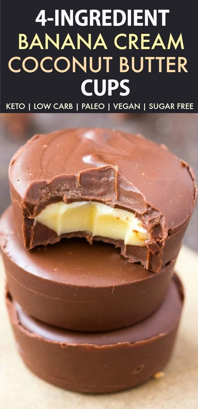4 Ingredient Banana Cream Coconut Butter Cups (Keto, Paleo, Vegan, Sugar Free)- An easy, homemade four ingredient healthy dessert or snack recipe which is low carb, dairy free and gluten free. A guilt-free way to keep hunger at bay while satisfying the sweet tooth! #ketodessert #coconutbutter #coconutcups #ketodiet - Recipe on thebigmansworld.com