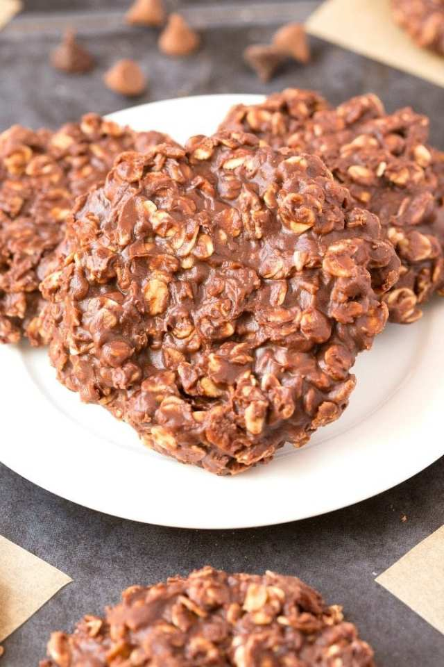 3 ingredient no bake chocolate peanut butter oatmeal cookies on a white plate