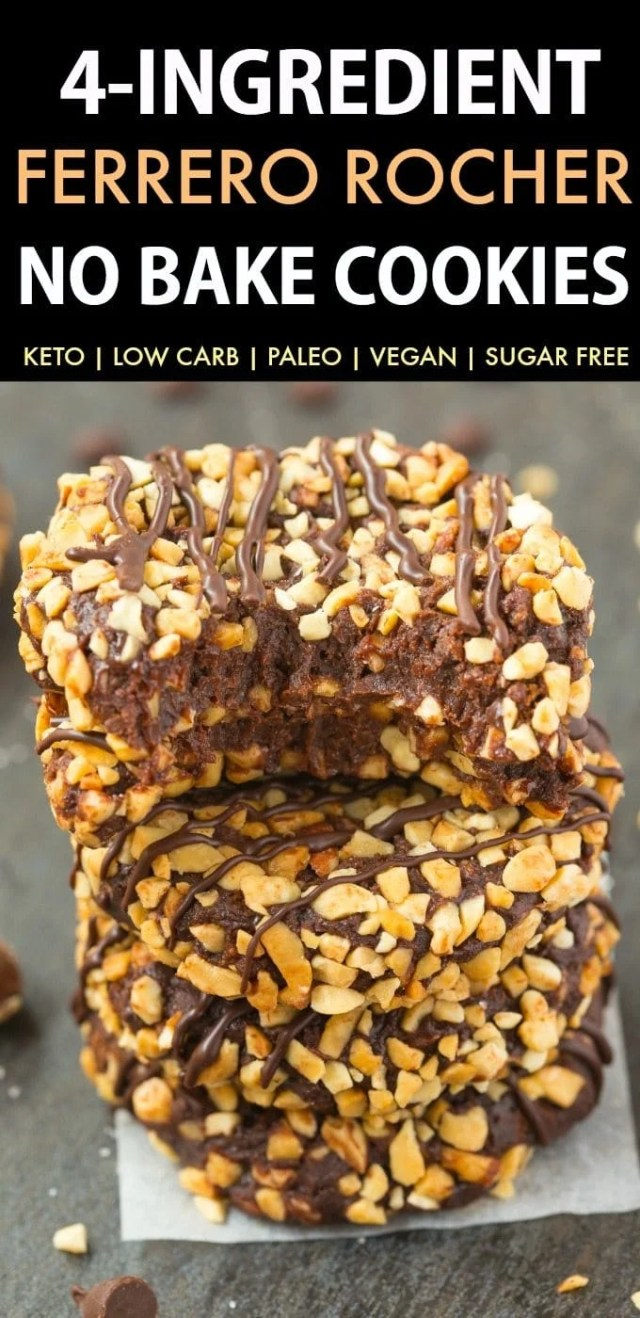 4-Ingredient No Bake Ferrero Rocher Cookies (Paleo, Vegan, Keto, Sugar Free, Gluten Free)-An easy recipe for chocolate hazelnut no bake cookies using just 4 ingredients! Easy, delicious low carb cookies which take less than 5 minutes to whip up- The perfect snack or holiday gift. #keto #ketodessert #nobake #cookies #ferrerorocher | Recipe on thebigmansworld.com