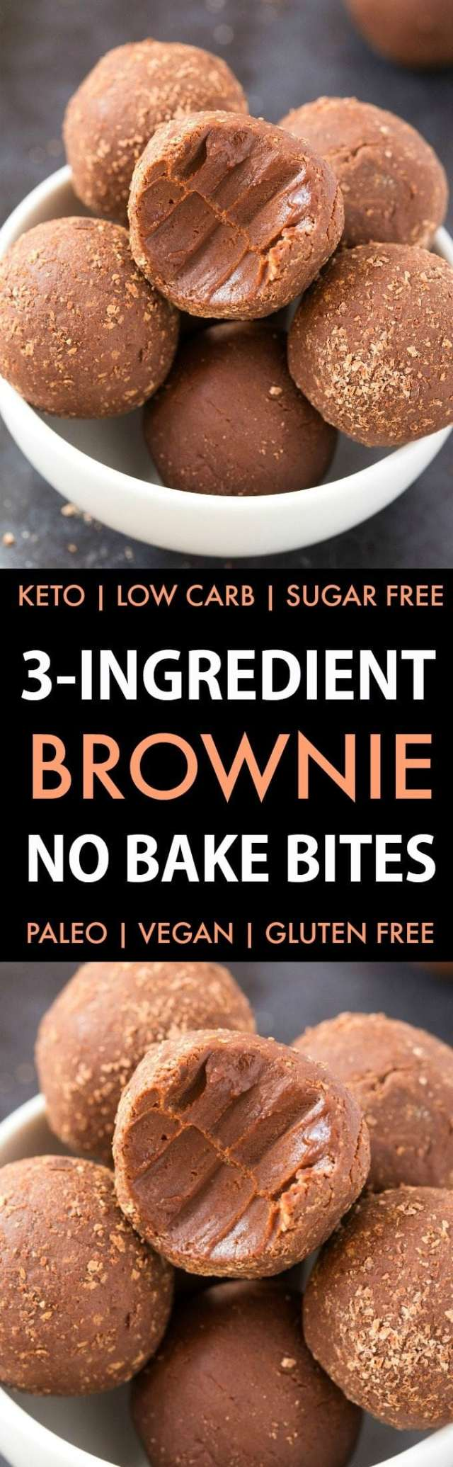 3-Ingredient Easy No Bake Brownie Bites (Keto, Paleo, Vegan, Sugar Free)- Quick and easy homemade brownie energy bites which take 5 minutes and need just 3 ingredients! A Fudgy, protein-rich, low carb snack to keep you satisfied! #energybites #nobake #ketorecipe #lowcarb | Recipe on thebigmansworld.com