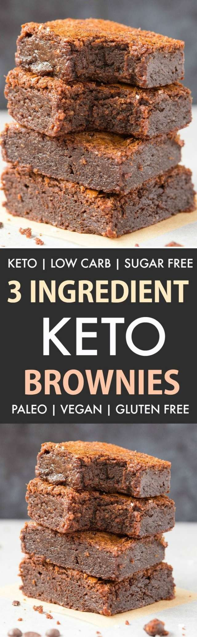 Easy 3-Ingredient Keto Low Carb brownies in a collage