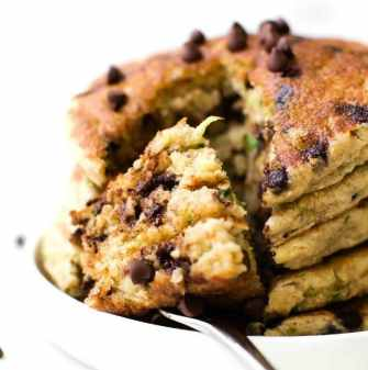 Fluffy Low Carb Keto Pancakes with zucchini (Paleo, Vegan, Gluten Free, Sugar Free)- An easy recipe for thick fluffy flourless keto zucchini bread pancakes made with almond flour and coconut flour- A delicious sugar free breakfast or brunch! #pancakes #lowcarbrecipes #lowcarbpancakes #ketobreakfast #veganpancakes | recipe on thebigmansworld.com