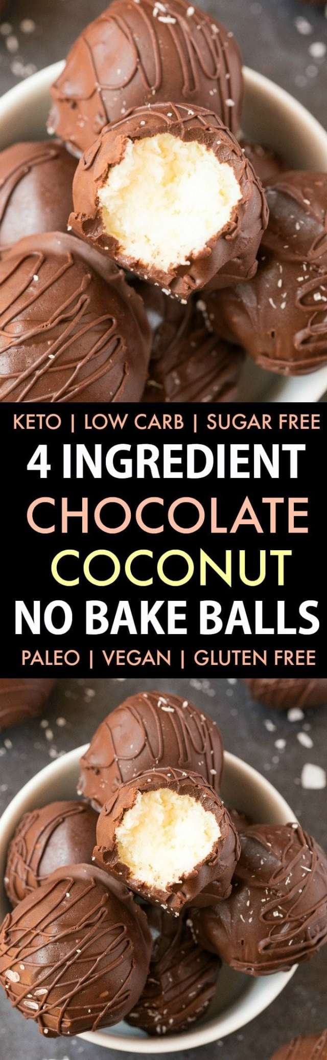 4-Ingredient Paleo Vegan Chocolate Coconut No Bake Balls in a collage