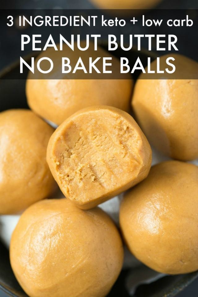 A bowl of 3 ingredient no bake peanut butter balls.