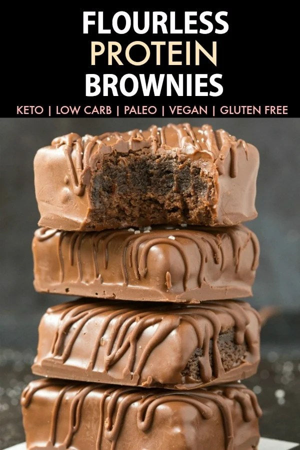 Flourless 4-Ingredient Keto Protein Brownies stacked up