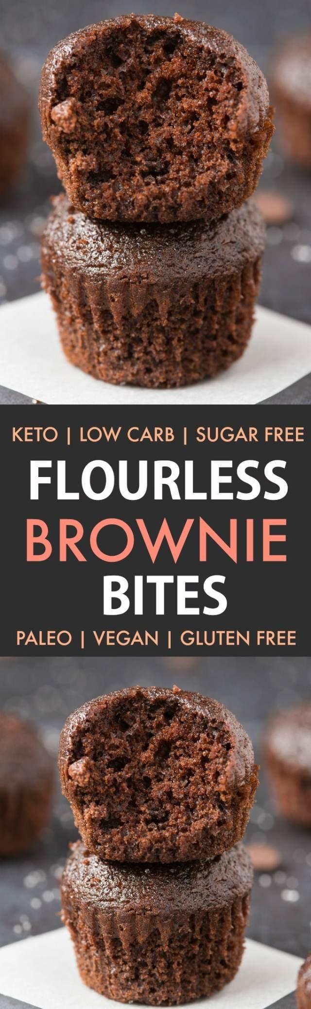 Healthy Flourless Paleo Vegan Brownie Bites in a collage