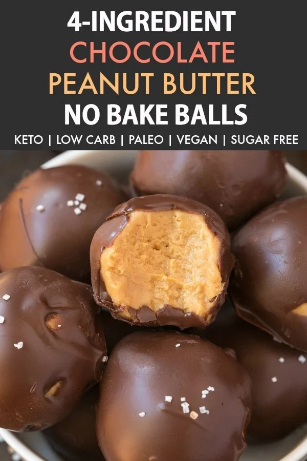 4-Ingredient No Bake Keto Chocolate Peanut Butter Balls (Paleo, Vegan, Low Carb)- An easy healthy no bake chocolate peanut butter protein balls recipe ready in 5 minutes and needing 4 ingredients! A quick and easy snack! #peanutbutter #chocolatepeanutbutter #proteinballs #ketorecipe | Recipe on thebigmansworld.com