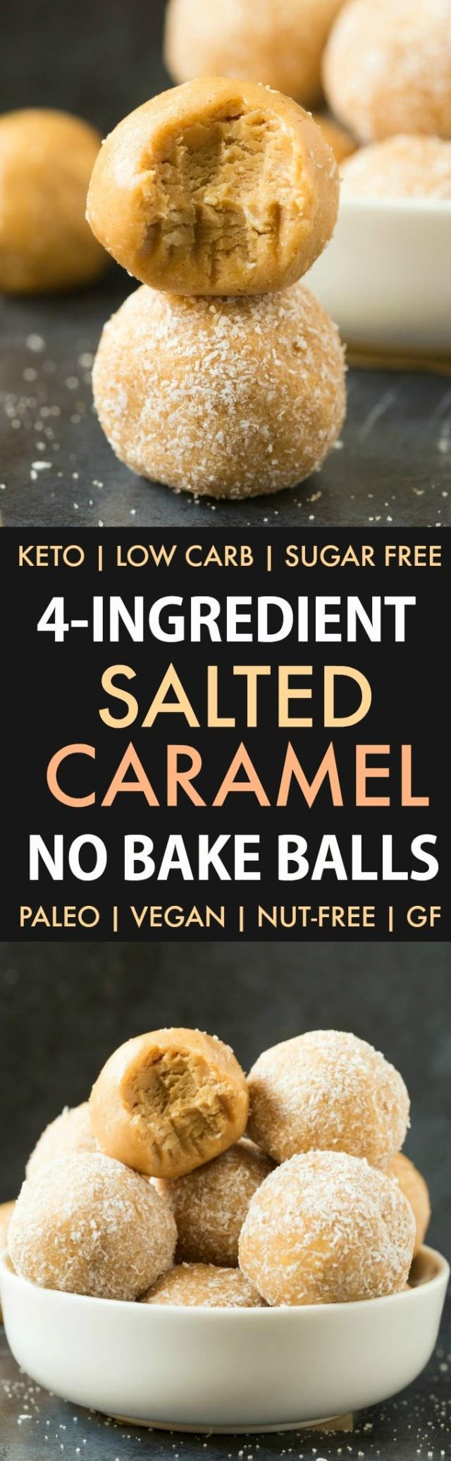 Healthy No Bake Salted Caramel Protein Bliss Balls in a collage.