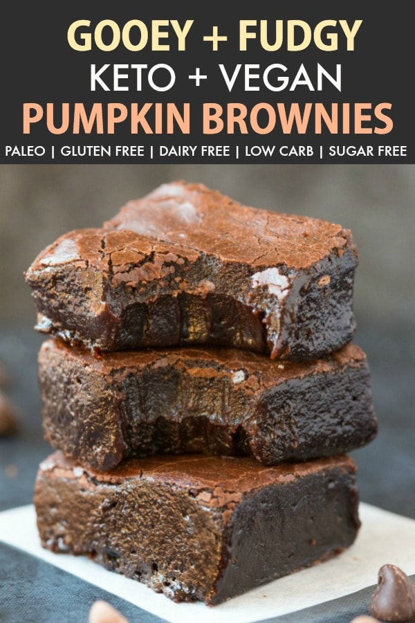 Fudgy Keto Vegan Pumpkin Brownies stacked on top of one another.