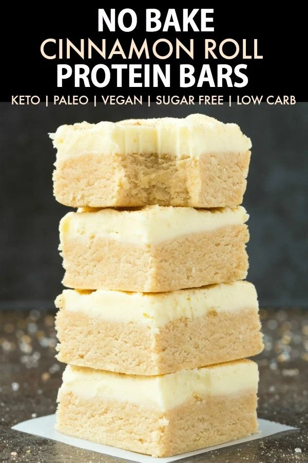 Easy No Bake Paleo Vegan Cinnamon Roll Protein Bar Recipe