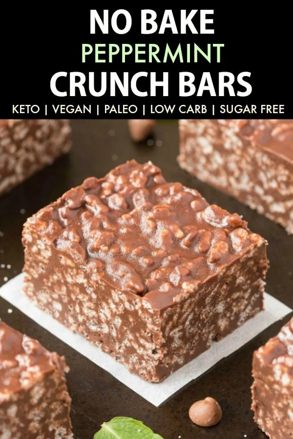 Homemade Keto Peppermint Chocolate Crunch Bars