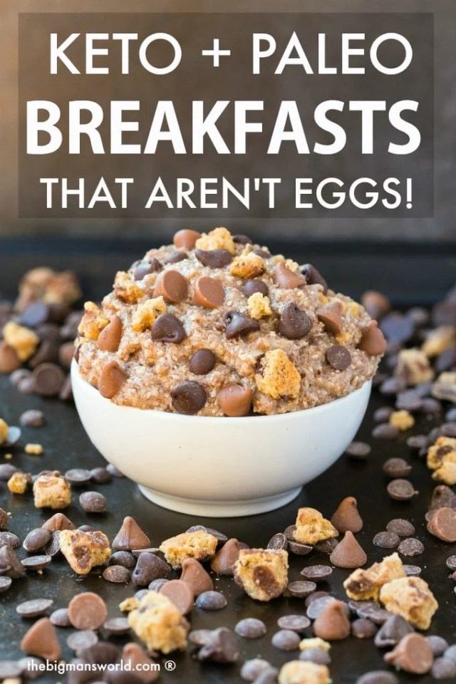 41+ Keto, Paleo AND Vegan Breakfast Ideas which AREN'T EGGS! Easy low carb breakfast ideas and recipes which are not primarily eggs- There is something for everyone and every recipe is quick, easy, nutritious, healthy, and DELICIOUS! #keto #ketobreakfast #paleobreakfast #veganbreakfast #lowcarbbreakfast #ketogenicbreakfast #eggless
